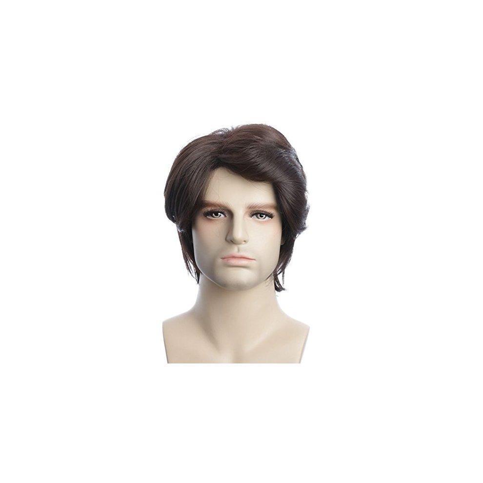Karlery Mens Short Curly Fluffy Dark Brown Wig Halloween Costume Party Cosplay Wig On Onbuy