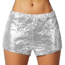 tectake Sequin shorts - silver XXL