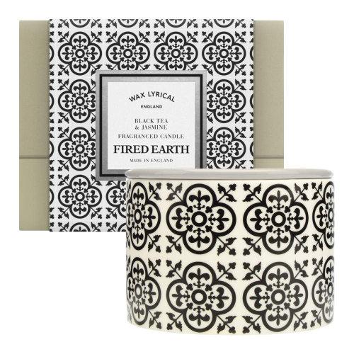 Wax Lyrical Fired Earth Fragranced 2 Wick Ceramic Candle Jar Black Tea & Jasmine