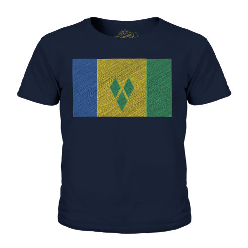 Candymix - Saint Vincents And The Grenadines  Scribble Flag - Unisex Kid's T-Shirt
