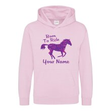 Childrens Born To Ride Horse Hoody Personalised Name