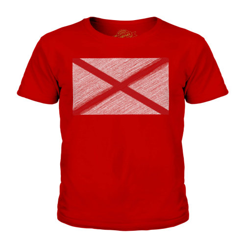 (Red, 11-12 Years) Candymix - Alabama State Scribble Flag - Unisex Kid's T-Shirt