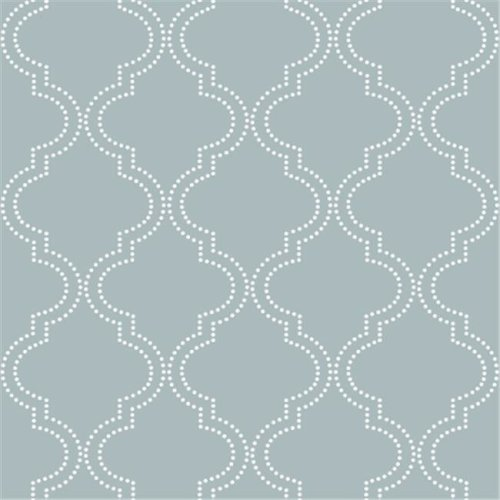 NuWallpaper NU1826 Quatrefoil Peel and Stick Wallpaper, Slate Blue