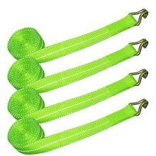 VULCAN Winch Strap with Heavy Wire Hook - 2 Inch x 15 Foot, 4 Pack - High-Viz - 3,300 Pound Safe Working Load
