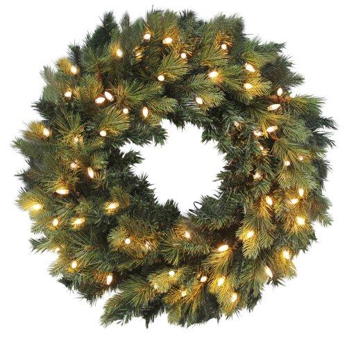 "30"" Luxury Pre-Lit Artificial Pine Wreath Christmas Decoration Warm White LEDs"