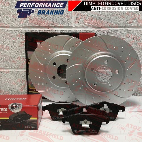 FOR FORD FOCUS 2.5 ST ST225 FRONT DIMPLED GROOVED BRAKE DISCS MINTEX PADS