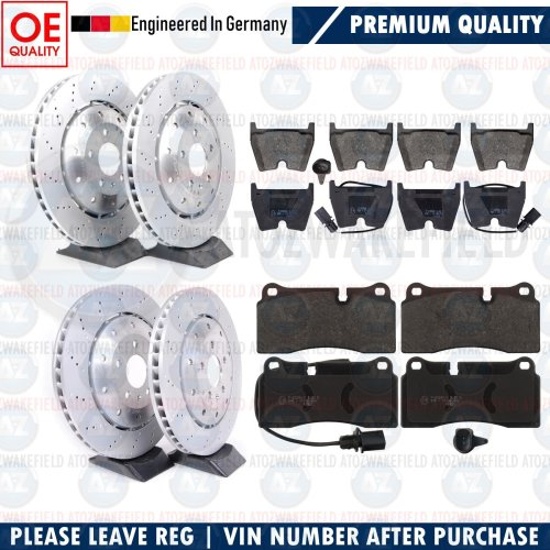 FOR AUDI R8 FRONT REAR DRILLED 2 PIECE BRAKE DISCS APEC PADS WIRES 365m 356m