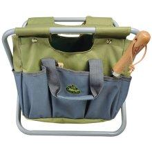 Esschert Design Garden Tool Bag and Stool Grey Storage Foldable Seat GT85