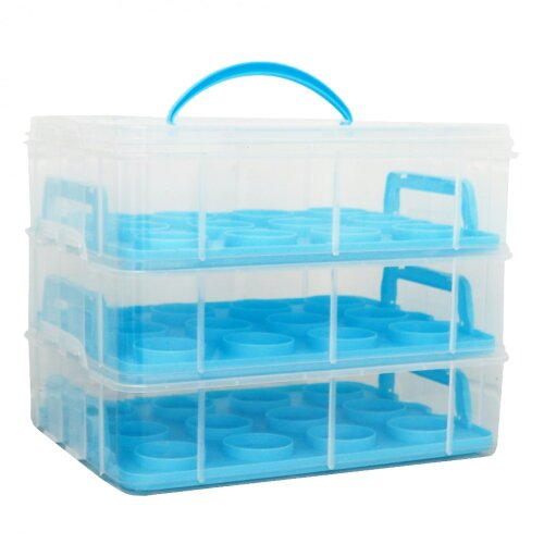 Oypla Blue 3 Tier 36 Cupcake Plastic Carrier Holder Storage Container