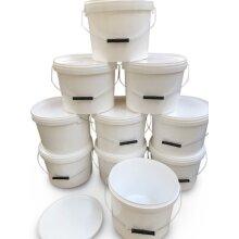 10 x 10 litre buckets and lids metal handle food grade home garden bait