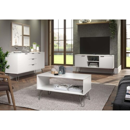 White Rectangle Coffee Occasional Living Room Table With Open Shelf Storage
