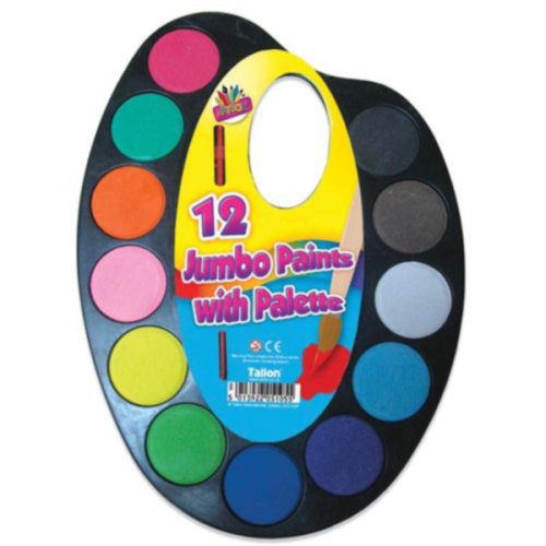 12 Jumbo Colours Water Paint Set with Paint Brush On Palette Kid Craft Set