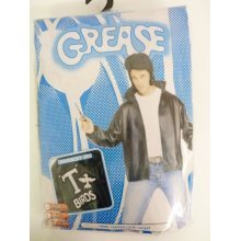 Large Adult's Black T Bird Jacket - Grease Mens Fancy Dress Costume Tbirds -  grease jacket mens fancy dress costume tbirds danny official 50s