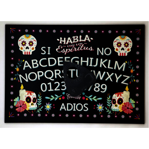 A4 Sized Wooden 'Day of the Dead' Ouija Board Set Complete with Sun, Moon & Stars Planchette, Dia de Los Muertos