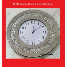 Luxury JUMBO 45CM WALL CLOCK Silver Crushed Dimond ROUND Crystal