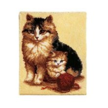 """Latch Hook Rug Kit""""Mother Cat and Kitten"""" 88x63cm"""