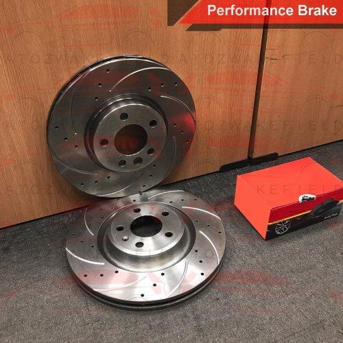 FOR JAGUAR XF 3.0d V6 FRONT DRILLED GROOVED BRAKE DISCS MINTEX PADS 326mm