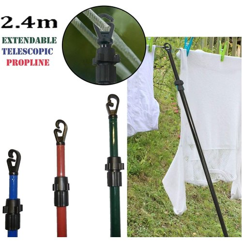 2 x Galvanised Washing Line Prop Outdoor Extendable Pole Clothes