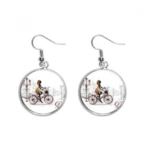 Bicycle Lady France Illustration Pattern Ear Dangle Silver Drop Earring Jewelry Woman