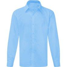 Boys School Shirt Uniform Long Sleeve White Sky Blue Age 2-18 Years UK