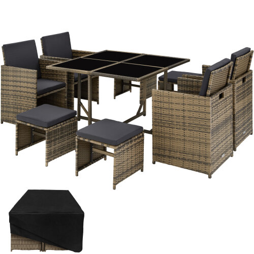 Rattan garden furniture set Bilbao 4+4+1 with protective cover, variant 2 - nature