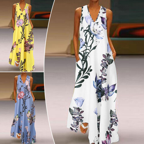 *Tight Inventory* Women V-Neck Boho Dress Ladies Summer Floral Beach Party Long Sundress Size 8-22