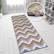 "Mustard Yellow Grey Rug Chevron Zig Zag Woven Short Pile Carpet Mat for Living Room & Bedroom 70x140cm (2'4""x4'7"")"