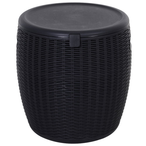 Outsunny 10L Ice Bucket Drink Cooler Easy-Clean w/ Drainage Hole Lid Black
