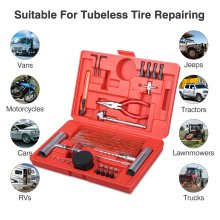 Vetomile 56Pcs Car Tire Repair Tool Kit Tubeless Tyre Puncture Repair