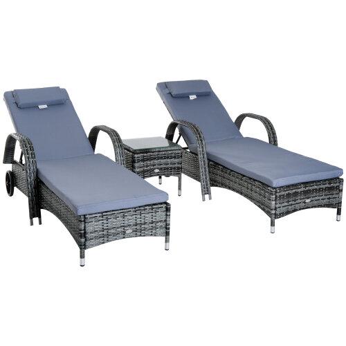 3pc Outsunny Garden Rattan Sun Lounger Set w/ Side Table - Grey