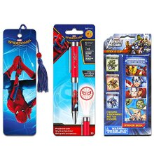 InkWorks Marvel Projector Pen Set with Bookmark and Stickers (Spiderman Office Supplies, School Supplies)