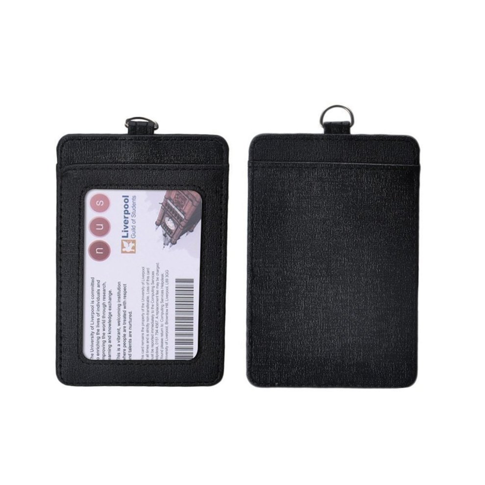 2-Sided Vertical PU Leather ID Badge Holder with Detachable Neck Lanyard and Cleaning Cloth
