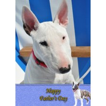 """English Bull Terrier Father's Day Greeting Card 8""""x5.5"""""""