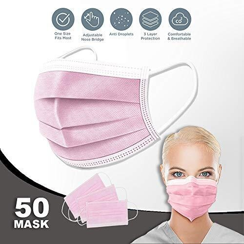 50 PCS 3 Ply Ear Loop Disposable_Face_Masks Industrial Non-Woven Fabric Windproof Foggy Haze and Dust Proof Full Face Protection - Pink - UK Seller
