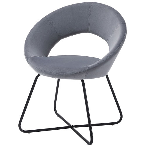 (Grey) Charles Jacobs Moon Chair | Velvet Dining Chair