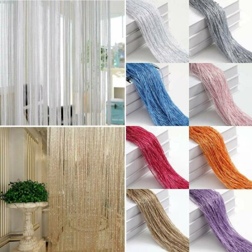 String Curtain Panel Door Fly Screen Divider Net Hanging Silver Line Home Decor