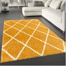 Mustard Fluffy Rug Yellow Shaggy Soft Thick Large Small Dimaond Carpet for Living Room Bedroom