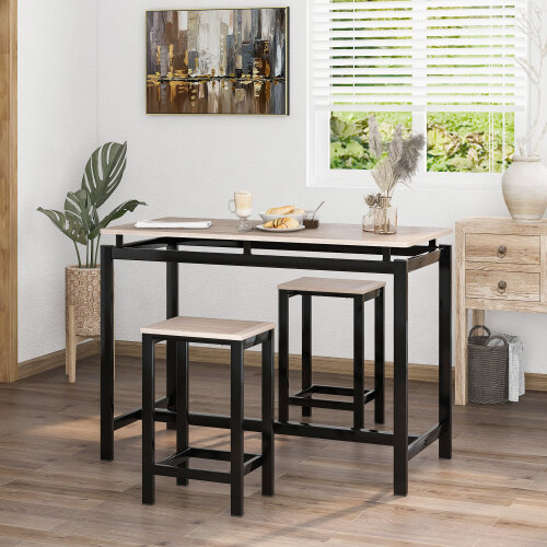 (Cream) Bar Table Set, Bar Table with 2 Bar Stools, Breakfast Bar Table and Stool Set, Kitchen Counter with Bar Chairs Kitchen, Living Room, Party Room