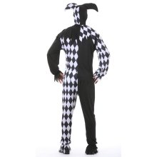 Mens Black Joker Jester Halloween Fancy Dress Costume Medium