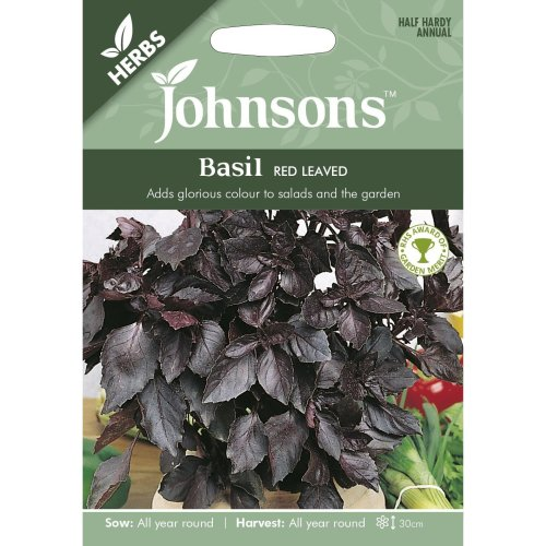 Johnsons Seeds - Pictorial Pack - Herb - Basil Red Leaved - 300 Seeds