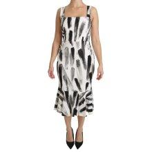 White Black Printed Sheath Midi Viscose Dress