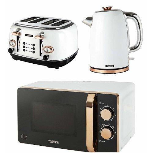 ROSE GOLD WHITE Manual Microwave, 1.7 Litre Jug Bottega Kettle &  4 Slice Toaster