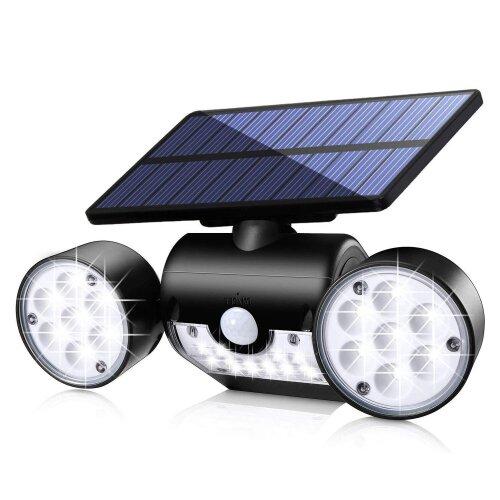 Solar Outdoor LED Security Lights With Motion Sensor Dual Head Spotlights