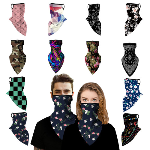 Unisex Multifunctional Neck Bandana Headwear Scarf with ear band Face Covering Dust Protection Reusable Breathable Cycling Polygon Print