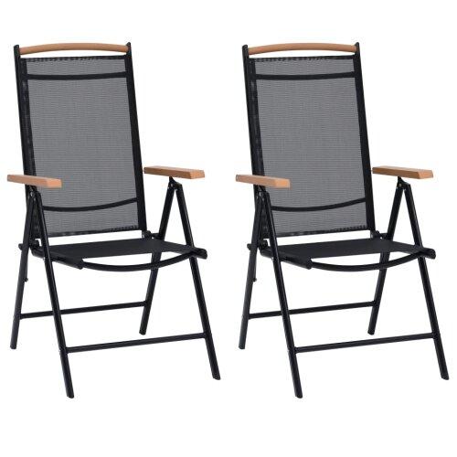 vidaXL 2x Folding Garden Chairs Aluminium Black with Polywood Armrests Outdoor