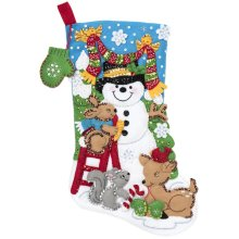 "Bucilla Felt Stocking Applique Kit 18"" Long-Building A Snowman"