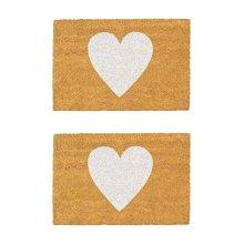 2x Door Mat Non-Slip PVC Coir, 40 x 60cm - White Heart - Indoor Mats Doormats