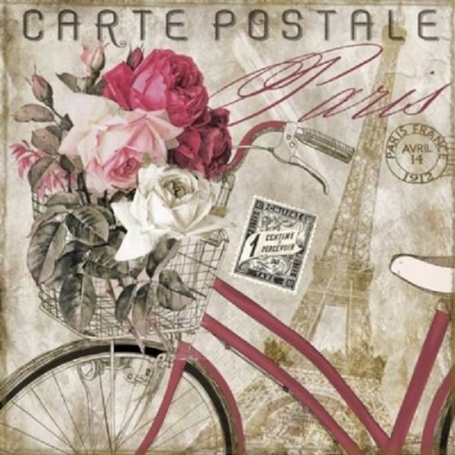 4 x Paper Napkins - Carte Postale Paris - Ideal for Decoupage / Napkin Art