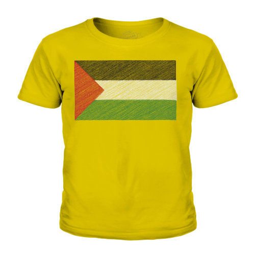 (Gold, 9-10 Years) Candymix - Palestine Scribble Flag - Unisex Kid's T-Shirt