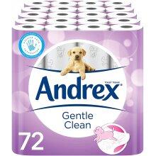 Andrex Gentle Clean Toilet Tissue 72 Rolls